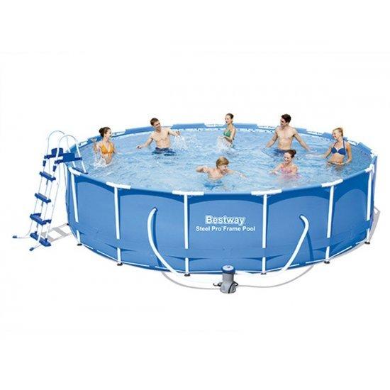 Сглобяем басейн с помпа, покривало и стълба 457x107см 56488 Bestway