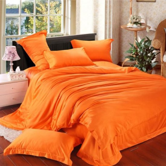 Спално бельо Памук Сатен Оранжево MONDO